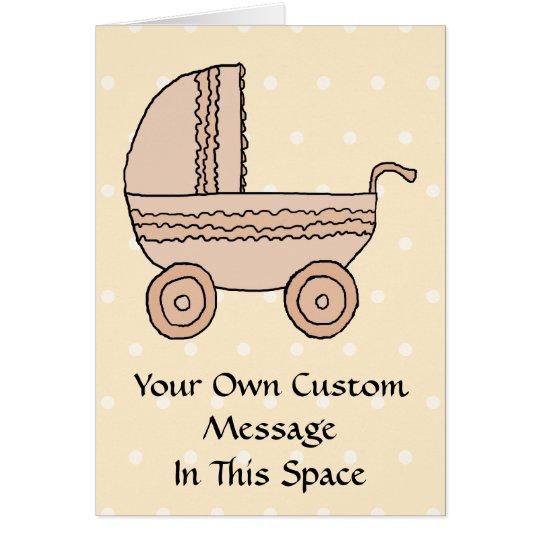 Beige Baby Pram. On spotty background. Card