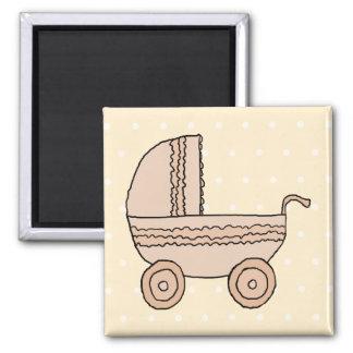 Beige Baby Pram On spotty background Refrigerator Magnets