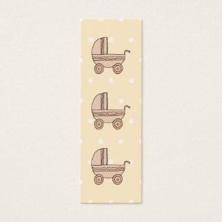 Beige Baby Pram. On spotty background. Mini Business Card