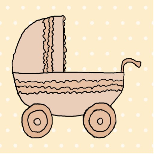 Beige Baby Pram. On spotty background. Cut Out