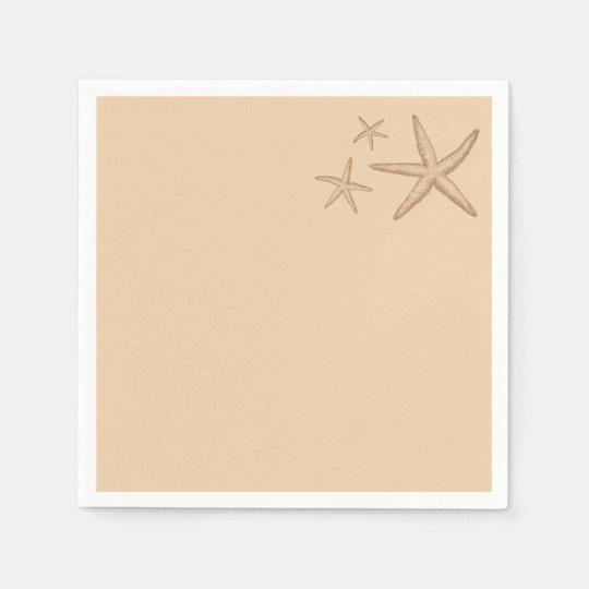 Beige Beach Themed Starfish Paper Napkins