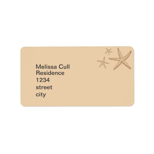 Beige Beach Themed Starfish Return Address Label