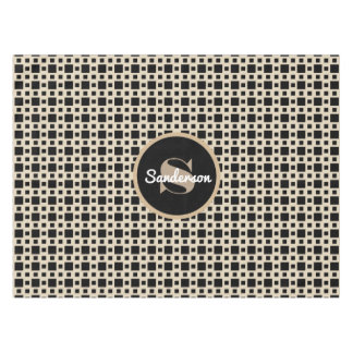 Beige & Black Elegance w/Personalization Tablecloth