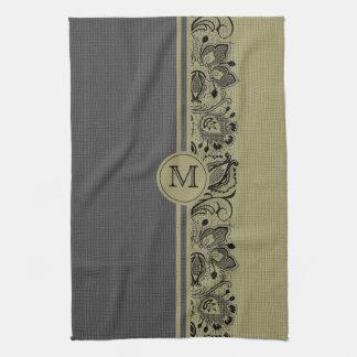Beige & Black Natural Linen & Black Lace 2 Kitchen Towel