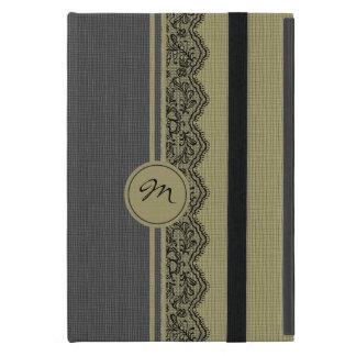 Beige & Black Natural Linen & Black Lace iPad Mini Case