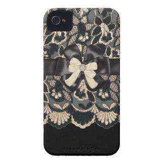 Beige & Black Rhinestone,Bows & Lace iPhone4 Case