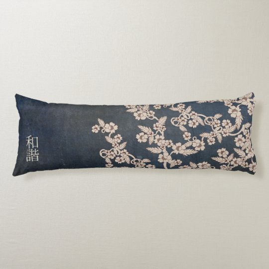 "Beige blossoms blue textured ""Unison"" Body Pillow"