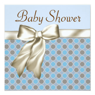 Beige Blue Brown Baby Boy Shower Invitations