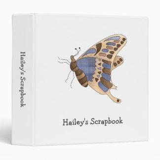 Beige & Blue Butterfly Vinyl Binders