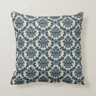 Beige & Blue Damask American MoJo Pillow 2 Differe