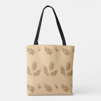 beige boho pattern with feathers tote bag