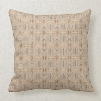 Beige Brown and Blue Geometric Throw Pillow throwpillow