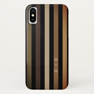 Beige Brown & Black Vertical Stripes Monogram iPhone X Case