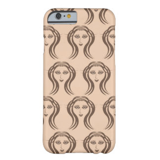 Beige Brown Female Faces Pattern Phone Case Barely There iPhone 6 Case