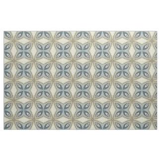 Beige Brown Gray Blue Batik Floral Star Pattern Fabric