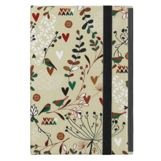 Beige & Brown Retro Flowers & Birds Pattern Cover For iPad Mini