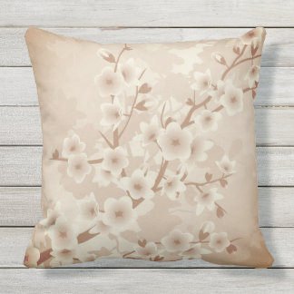 Beige  Cherry Blossoms Vintage  Floral Throw Pillow
