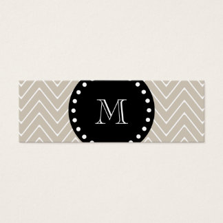 Beige Chevron Pattern | Black Monogram Mini Business Card
