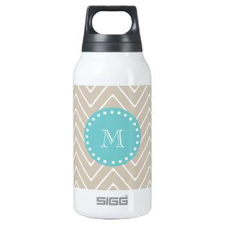 Beige Chevron Pattern | Teal Monogram Insulated Water Bottle