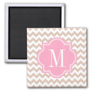 Beige Chevron with Pink Monogram Square Magnet