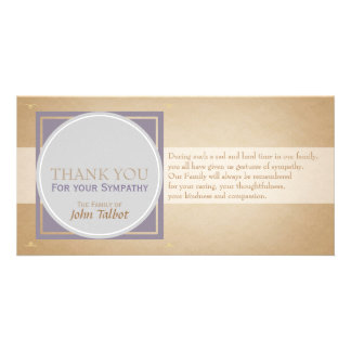 Beige Circle P Square Tags Sympathy Thank you P Photo Card