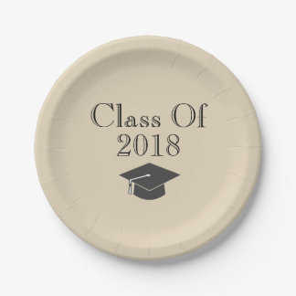 "Beige ""Class Of 2018"" with Black Graduation Cap Paper Plate"