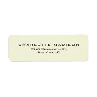 Beige Color Elegant Plain Modern Minimalist Return Address Label