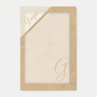 Beige Confetti Textured Monogram Post-it Notes
