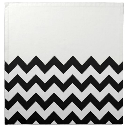 Beige Cream On Black & White Zigzag Chevron Napkin