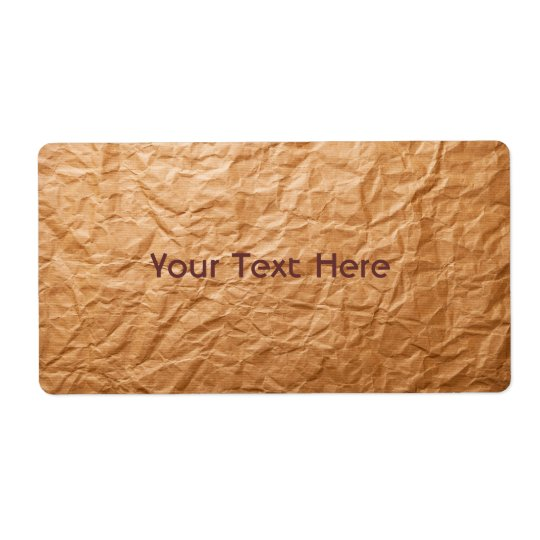 Beige Crumpled Paper Shipping Label
