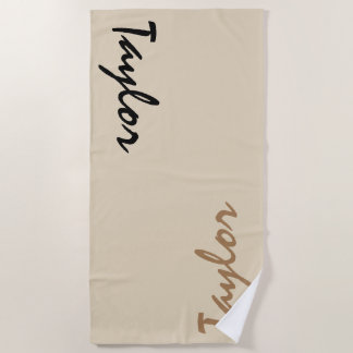 Beige Custom Name Personalized Beach Towel