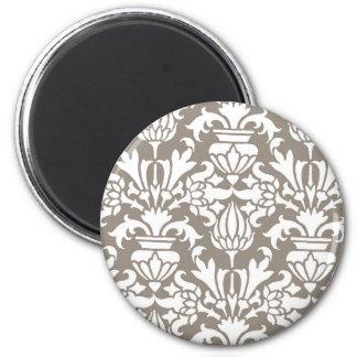 Beige Damask 2 Inch Round Magnet