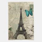 beige Damask butterfly rose Paris Eiffel Tower Kitchen Towel