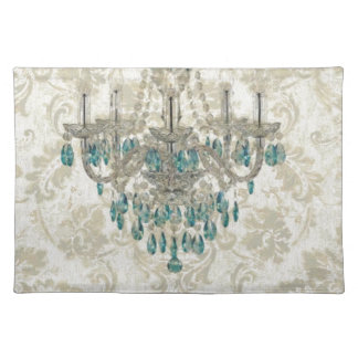 beige Damask French Country blue Chandelier Placemat