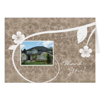 Beige de carte de voeux de Merci de maison