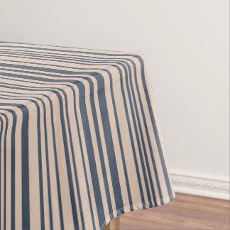 Beige/Deep Blue Stylish Stripe Pattern Tablecloth