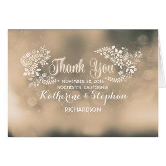 beige fancy floral hearts wedding thank you card