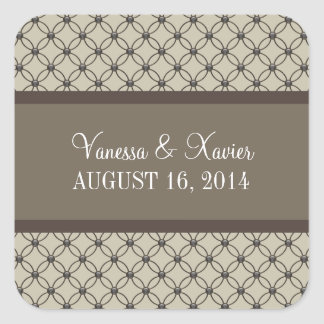 Beige Fancy Lattice Wedding Stickers