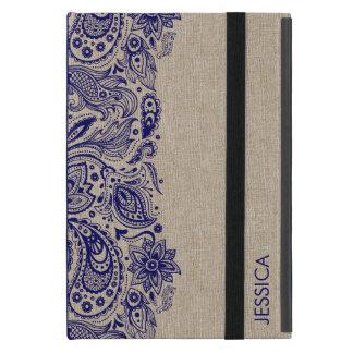 Beige Faux Linen & Navy Blue Paisley Lace Cases For iPad Mini