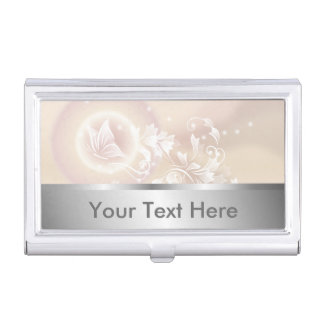 Beige Floral Butterfly Business Card Holder