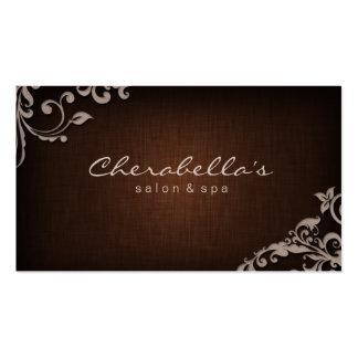 Beige floral de Brown de carte de visite de spa de