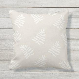 Beige Floral Outdoor Throw Pillow