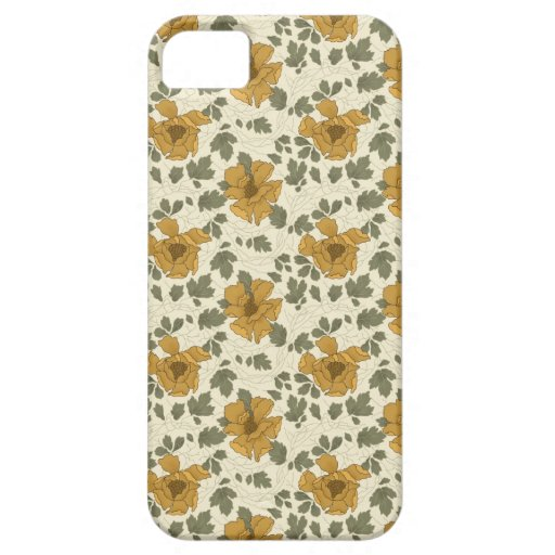 Beige Floral Pattern iPhone 5 Cases