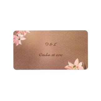 Beige Floral Wedding Label