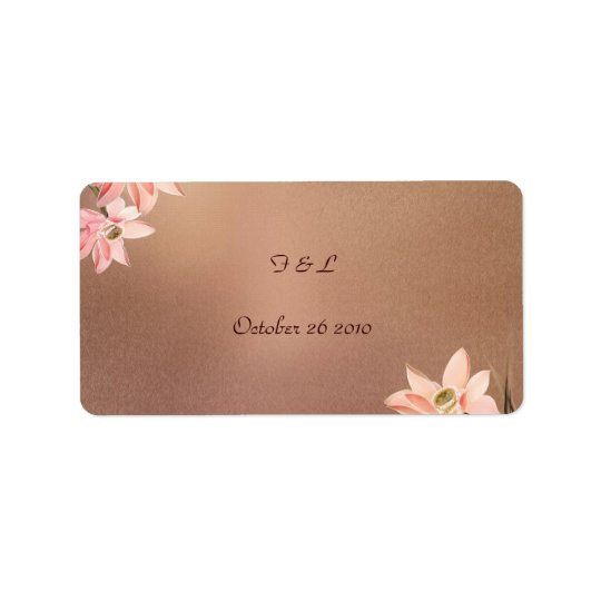 Beige Floral Wedding Label