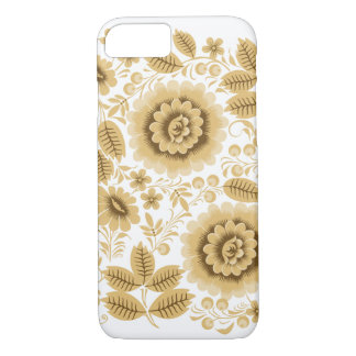 Beige Flowers Hohloma iPhone 7 Case