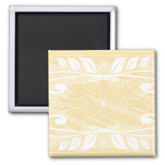 beige flowers square magnet