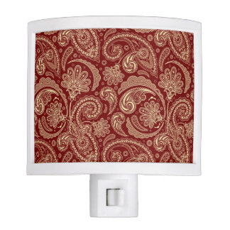 Beige flowers Paisley Over Crimson Red Background Night Lights