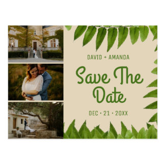 Beige Foliage Three Photo Collage Save The Date Postcard