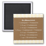 Beige gingham dry measure chart kitchen helper square magnet